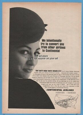 1965 Continental Airlines pretty stewardess photo route map vintage print ad