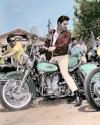 "ELVIS PRESLEY KING OF ROCK & ROLL MOTORCYCLE  8x10"" HAND COLOR TINTED PHOTO"