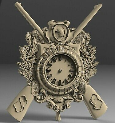 STL 3D Models # WALL CLOCK RIFLES HUNTING # for CNC Aspire Artcam 3D Printer