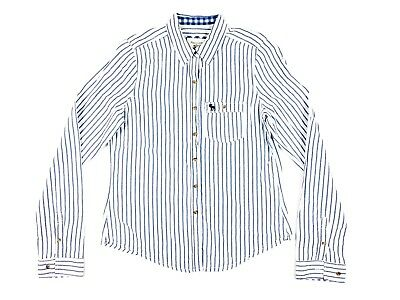 5c32479c 6386) Abercrombie & Fitch Women's M Striped Button Down Shirt Top Blue/White  A&F