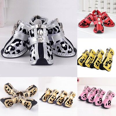 4pcs Anti-slip Dog Shoes Leopard PU LeatherBoots Booties for Small Large Dog