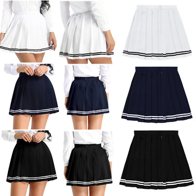 Women girls Tennis golf High Waist A-line Pleated Mini Skirt Uniform Short Skirt