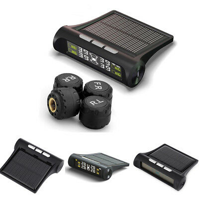Car Solar Wireless TPMS Tire Pressure LCD Monitoring System With 4 Sensors Hot !