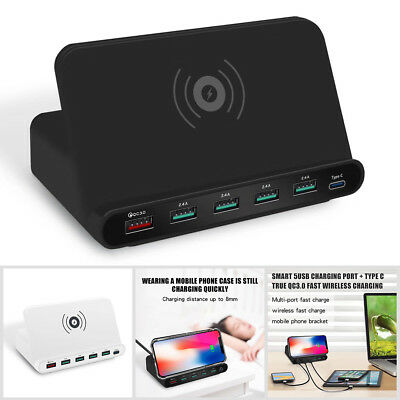 Fast Wireless Charger 6 USB Hub Charging Stand Station for iphone 8 Plus X XR XS