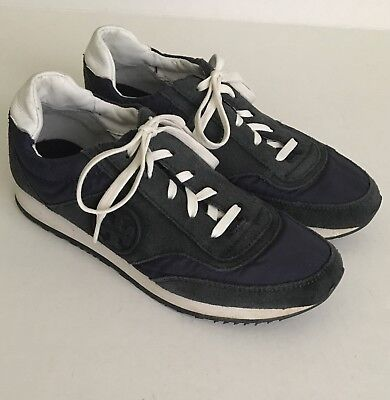 """8f108424407 Tory Burch Women s Navy Blue Suede Athletic Sneakers """"T"""" Logo Trainer Shoes  Sz 6"""
