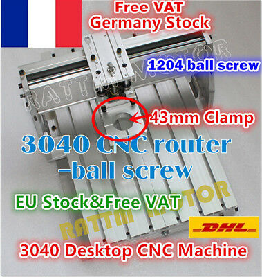 【FRA】3040 Ball Screw Engraver Milling Machine CNC Wood Router Frame 43mm Clamp