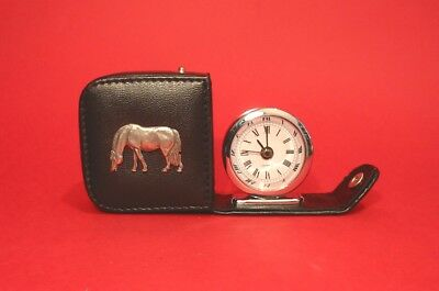 Grazing Pony Pewter Motif Travel Alarm Clock Mother Father Christmas Gift