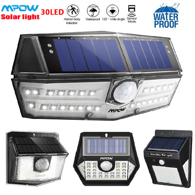 MPOW Super Bright 30 LED Solar Panel Wall Lights Motion Sensor Security Lamp UK