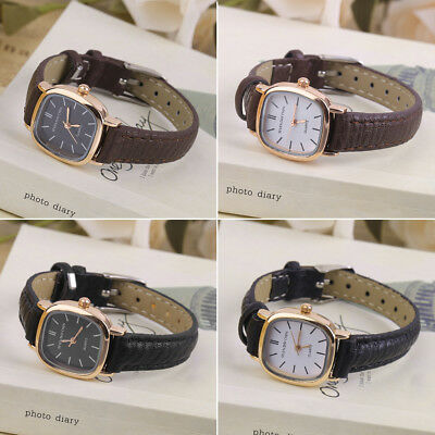 Vintage Round SHape Small Dial Women Lady PU Leather Wrist Watch Best Gift B KG