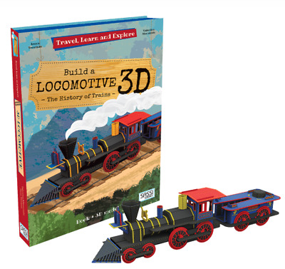 NEW Build Your Own 3D Model Train Locomotive Travel Learn Explore Book & Toy Set