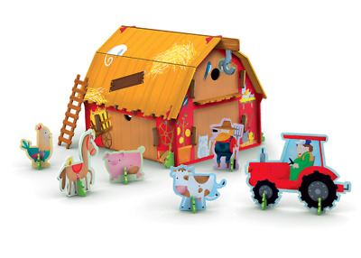 NEW Build Your Own 3D Model Farm Barnyard Travel Learn Explore Book & Toy Set!