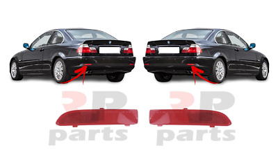 For Bmw 3 E46 Coupe 1999 - 2003 New Rear Bumper Reflector Lens Pair Set Red