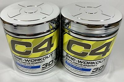 2 Cellucor C4 Explosive Energy Pre-Workout Icy Blue Razz 30 Serving Clumpy