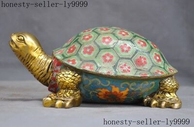 old China bronze Cloisonne Enamel color Feng shui wealth Turtle tortoise statue
