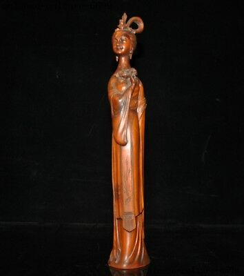 China Boxwood wood Hand carved Ancient dynasty palace Belle beauty woman statue