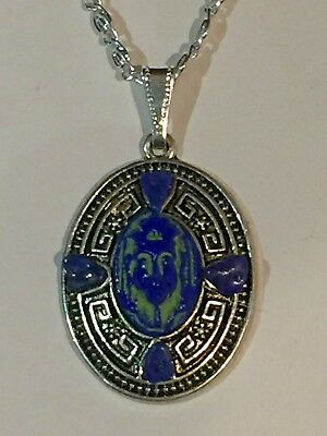 Sale-Antique Max Neiger Egyptian Revival Czech Glass Pharoh&lapis Necklace
