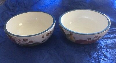 "Heritage Mint Black Forest Fruits Dinnerware Cereal Soup Bowls 5.25"" Set Of 2"