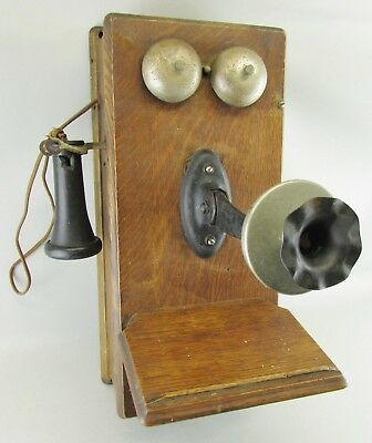 Rare Old Antique Monarch Wood Wall Crank Telephone Phone