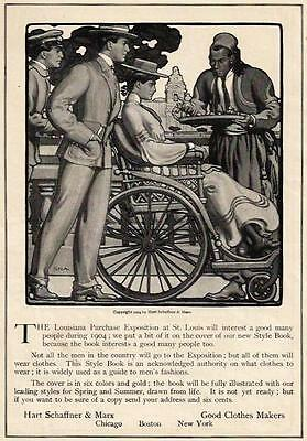 1904 Ad Hart Schaffner & Marx Mens Clothes LA Purchase Expo Lady Wheelchair
