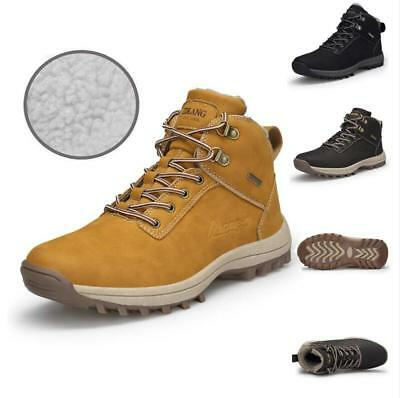 Men's Fur Lined Winter Snow Boots Combat Desert Hiking Outdoor Ankle Shoes Size
