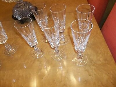 "Vintage Waterford Lismore Cut Crystal 7 7/8"" Champagne Flute Stemware Never Used"