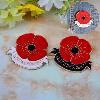 Vintage Poppies Red Poppy Flower Pin Brooches Enamel Remembrance Gold Badge Pins Lovely Luster Pins & Brooches Jewelry & Watches