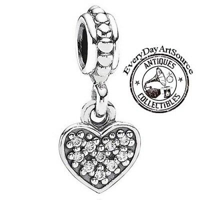 b3b50d95b Authentic PANDORA Clear CZ Pave Heart Dangle Charm in 925 Sterling Silver  791023