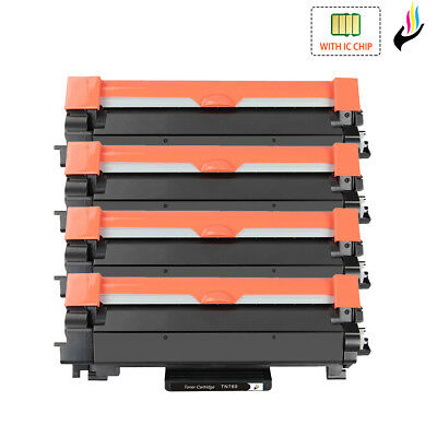 4 PK TN760 Toner Cartridge & CHIP for Brother HL-L2370DW DCP-L2550DW MFC-L2710DW