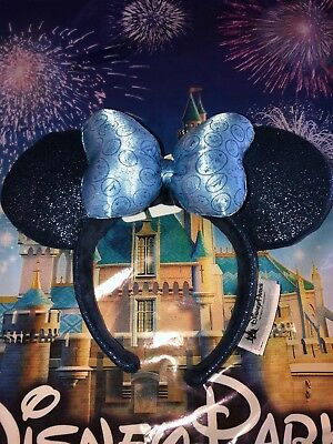 Disney Parks 2018 Minnie Mouse Blue Bow Sequined Ears Headband New