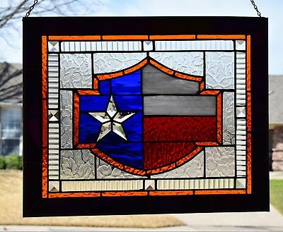 """""""Texas Harley"""" Stained Glass Window Panel"""