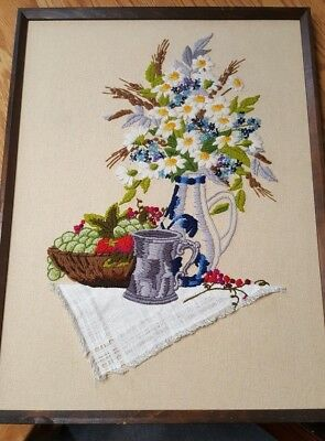 Finished Crewel Picture Flowers Fruits Silver Tankard Stein 19 x 25 Wood Frame