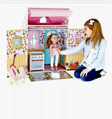 """Jupiter Wooden Doll House w/12 Acc. for 18""""Dolls Wellie Wishers Kitchen Sold Out"""