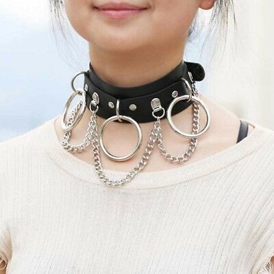 Black Leather Choker Metal Ring Chain Necklace Collar Handmade Goth Punk Jewelry