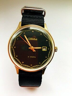 Men`s Vintage Slava Mechanical Russian Watch USSR gold plated AU-10