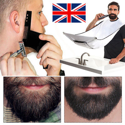 Mens Facial Hair Style Beard Bib Shaping tool with Comb Apron Care Shave Bibs UK