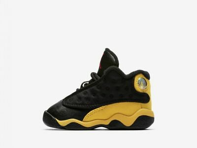 63a9f11e76dc Air Jordan 13 Retro (TD) 414581-035 Black Yellow Red Infant Toddler Shoes