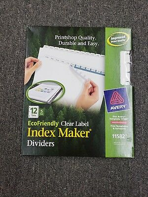 Avery Print /& Apply Clear Label Dividers w//White Tabs 12-Tab Letter 5 Sets 11582