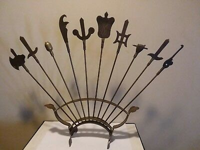 Vintage Japanese Chinese  Miniature Bronze Weapons Dispay