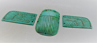 Beautiful Ancient Egyptian Glazed Winged Scarab With Heiroglyphics