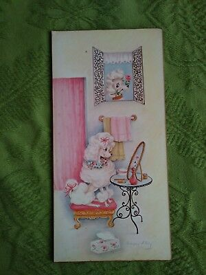 Vtg 50s Mid Century Prissy Poodle Dog Plaque Wall Hanging Sign Picture Kitsch