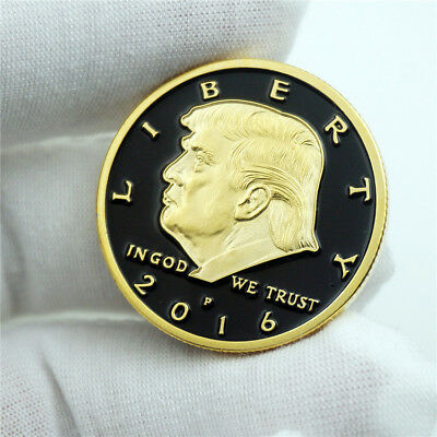 2016 US Presidential Campaign Donald Trump Gold on Black Background Eagle Coin