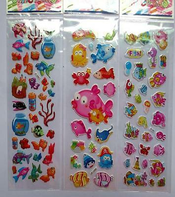 Lot 100 sheets 3D fish color mix small Stickers Children's Party Gifts 21x7.5cm