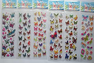 Lot 100 sheets 3D butterfly mixed small Stickers Children's Party Gifts 21x7.5cm
