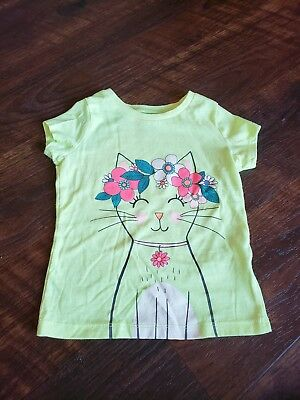 Girls Cat With Flowers Carters T-shirt Size 3t