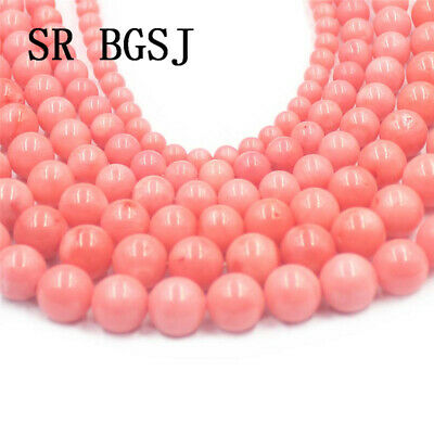 "Jewelry DIY Round Pink Sea Bamboo Coral Gemstone  Loose Beads Strand 15"" 4-12mm"
