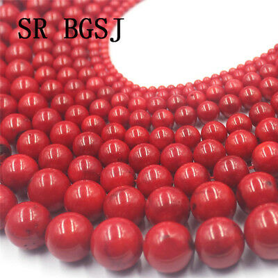 "Jewelry DIY Round Red Sea Bamboo Coral Gemstone  Loose Beads Strand 15"" 4-18mm"