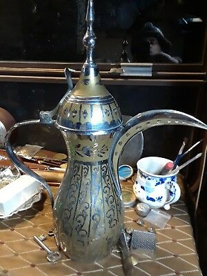 Brass Dallah Turkish Arabic Coffee Pot with Makers Mark. Coffee pot. Brass pot.