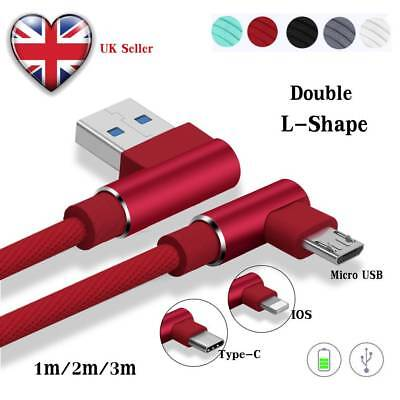 UK 1~3M Braided 90° Elbow Type C Lightning Micro USB Android Fast Charging Cable