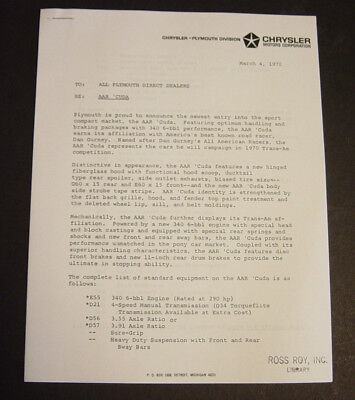 Rare 1970 Plymouth AAR 'Cuda Dealer Announcement Letter Price Bulletin Barracuda