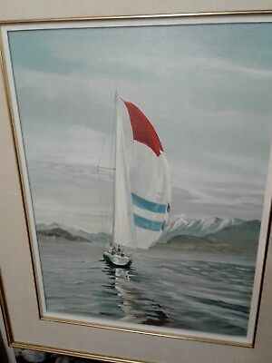 Canadian Artist Oil Painting  Sailing Seascape Oil On Canvas